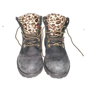 Black and leopard timberlands boots